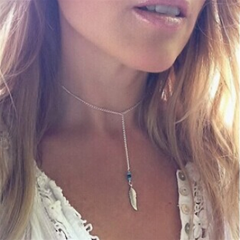 Women Bohemian Turquoise Feather Tassel Pendant Chain Statement Necklace Metal Simple for women jewelry party gift