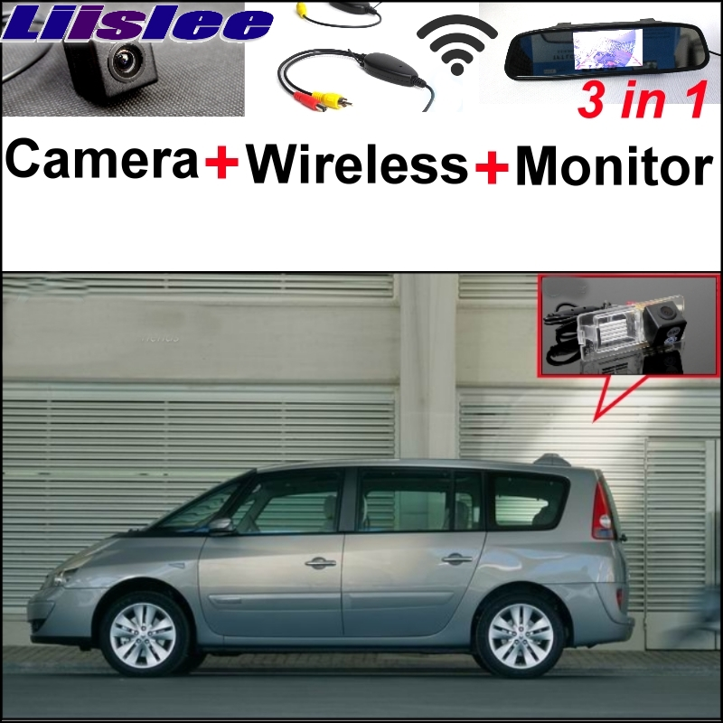 Lisslee 3 in1 Special Camera + Wireless Receiver + Mirror Monitor EASY DIY Parking System For Renault Espace 4 2003~2014 1 18 otto renault espace ph 1 2000 1 car model reynolds