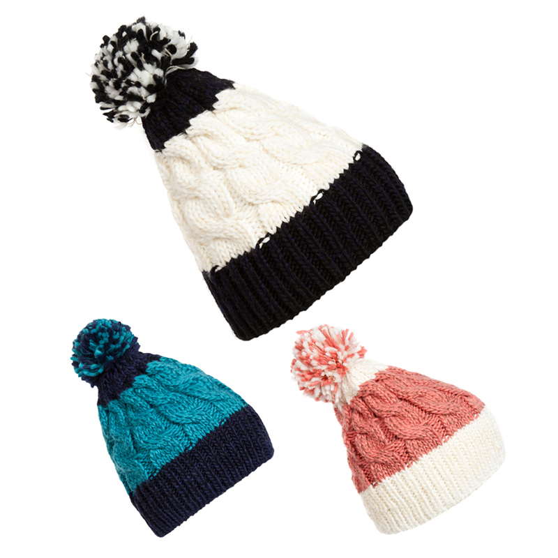 2015 New Winter Warm Giant Bobble Hat Fashion Chunky Slouch Cable Knit Cap Blue Pink and White DM#6 charter club new blue sky women s medium m cable knit crewneck sweater $59 359