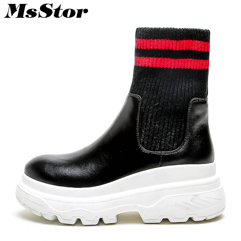 MsStor Women Boots 2018 Fashion Round Toe Thick Bottom Flat Ankle Boots Women Shoes Platform Knitting Black Boot Shoes For Girl msstor women boots round toe wedges ankle boots women winter shoes thick bottom lace up short plush black boot shoes for woman