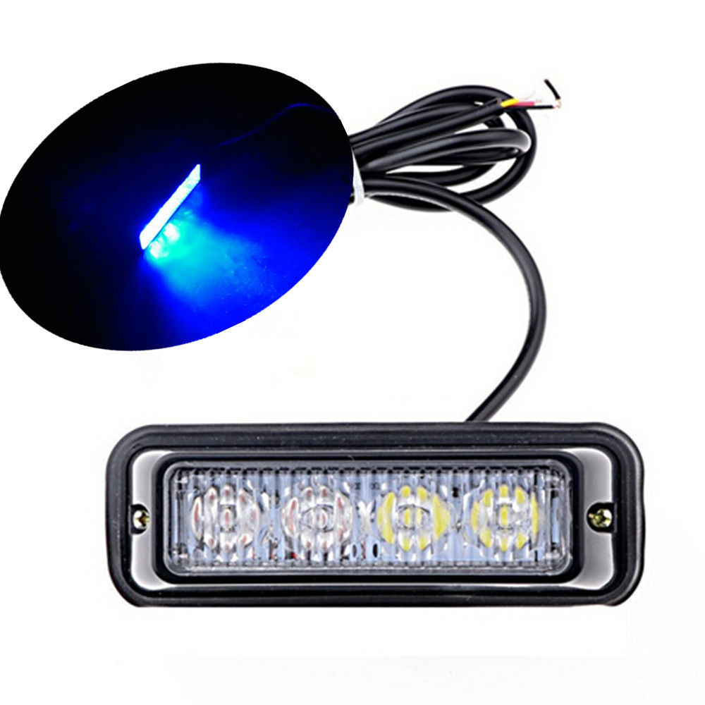 CYAN SOIL BAY 4 LED Blue Waterproof 4LED Warning Beacon Emergency Car Truck Strobe Flash Light Bar Lamp 24V 12V 4 led 12 24v car strobe flash light white red amber light vehicle truck rear side light car emergency warning lamp drop shipping