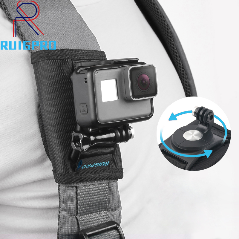 360 Degree Rotation Quick Release Backpack Belt Button Mount Buckle Clip Adapter for Gopro Hero 7 6 5 4 3 Xiaoyi Action Camera in Sports Camcorder Cases from Consumer Electronics