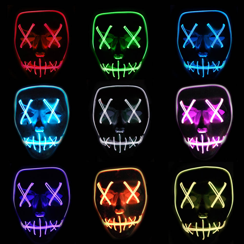 Accesorios para Halloween máscaras LED luz intermitente de Terror diablo calavera máscaras esqueleto fiesta decoración Favor trajes Cosplay