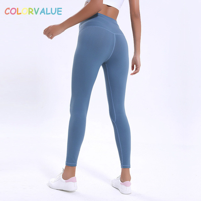 Colorvalue Anti-sweat Mention Hip Sport Gym Leggings Women High Waisted Yoga Fitness Pants Seamless Dance Workout Leggings XS-XL 2