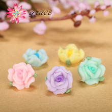 25pc/lot 13m Cute Colors Small Clay Fimo Resin Rose Flatback Flower Beads Fit Sticker Floral Earring Making Decoration Accessory