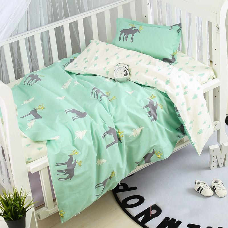 3Pcs Baby Bedding Set Cotton Crib Sets Baby Cot Set Including Duvet Cover +Pillowcase +Flat Sheet Kindergarten bedding Sets