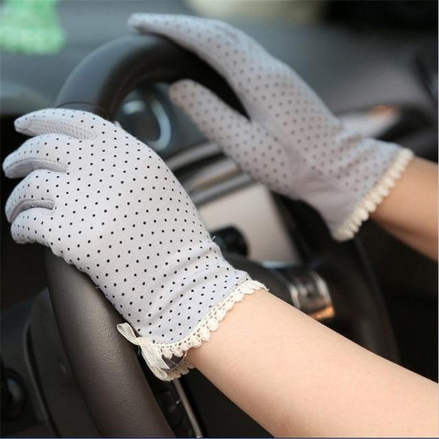 KLV 1 Pair Elegant Women's Driving Slip-resistant Sunscreen Cotton Gloves Fashion Dot Lace Female Sun Protection Non-slip Glove 1