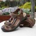 2016 Brand New Summer Sandals Hollow Moda Transpirable Sandalias de Playa Sandalias de Cuero Real TAMAÑO 35-45 Envío Gratis