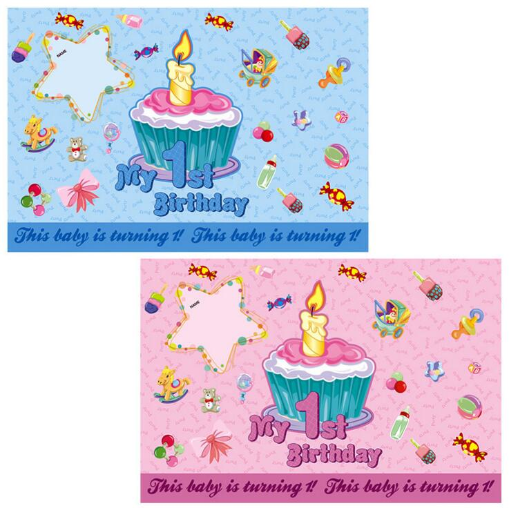 Riscawin 1st Birthday Poster Or Wall Paper For Party Suppliers Baby Boy Girls Sweet Home Decoration
