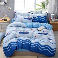 Bedding-Set Duvet-Cover-Set Kids Pillowcase Bedspread Bedroom Blue Twin-Size Cartoon