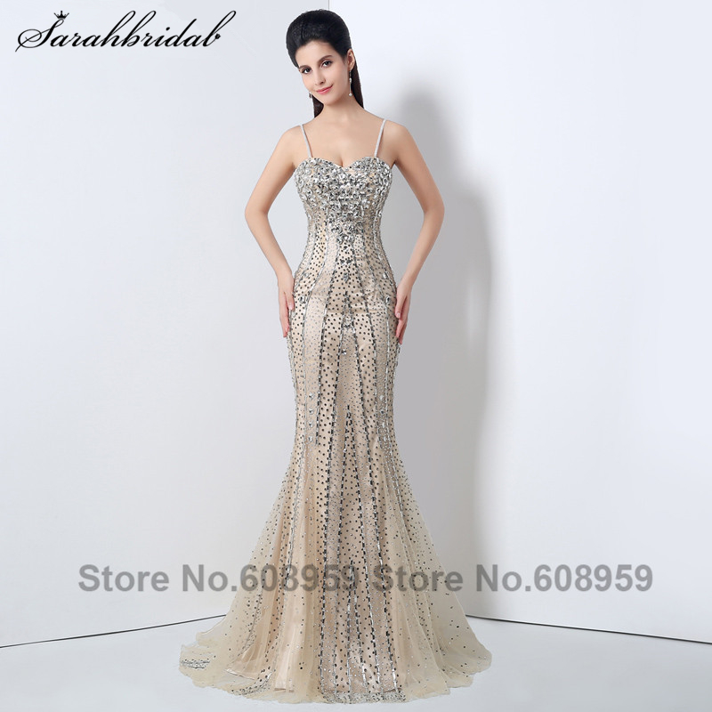 Elegant Nude Crystals Spaghetti Strap Women   Evening     Dresses   Fashion Sleeveless Floor Length Party Gown Real Picture XZ006