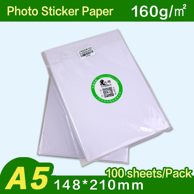 glossy photo sticker 100 sheets 160gsm a5 size high resolution