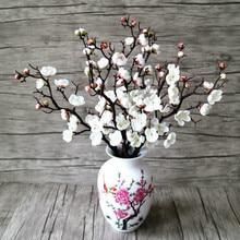 3pcs Artificial Flowers Cherry Blossom Bridal Decor Bouquet Silk Fake Decoration Wedding Decorative Diy