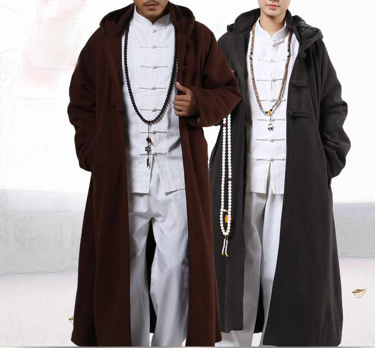 4color winter warm Buddhist shaolin monks cape meditation cloak suits coat lay abbot nun kung fu martial arts robe clothing