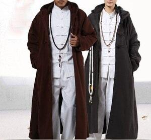 Image 1 - 4 kolor zima ciepłe buddyjskie mnichów shaolin cape medytacja płaszcz garnitury płaszcz lay abbot nun kung fu sztuki walki szata odzież