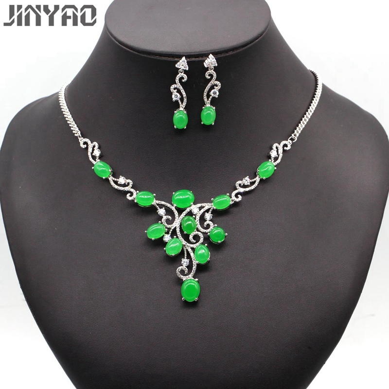 JINYAO Luxury Bridal Jewelry White Gold Color Green Stone Zircon Necklace Earrings Sets for Women Wedding JewelryJINYAO Luxury Bridal Jewelry White Gold Color Green Stone Zircon Necklace Earrings Sets for Women Wedding Jewelry