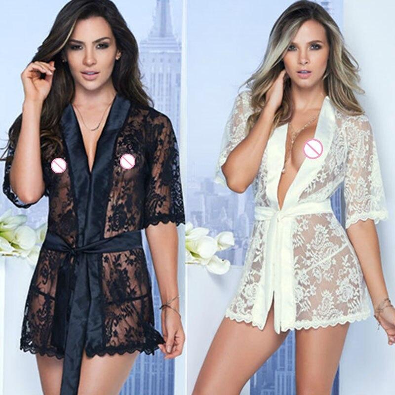 Hot M XL 2XL Sexy Lingerie Satin Lace Black Kimono Intimate Sleepwear Robe Sexy Night Gown
