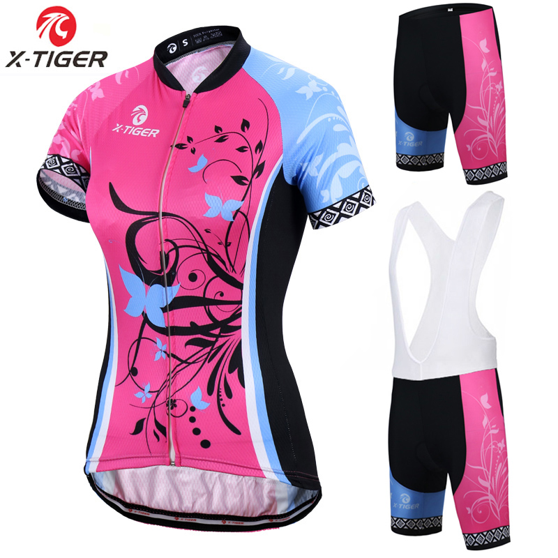X-Tiger Adina Short Sleeve Breathable MTB Bike Clothing <font><b>Women</b></font> Bicycle Clothes Ropa Ciclismo 100% Polyester Cycling <font><b>Jersey</b></font> Set