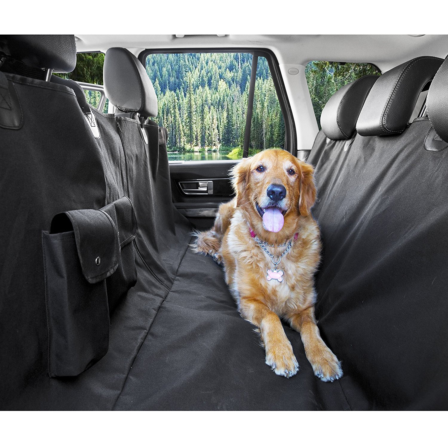 Medium image of mdstop new multi function car pet seat cover with pockets zipper hammock rear back seat dog protector mat for cars trucks suvs in dog carriers from home
