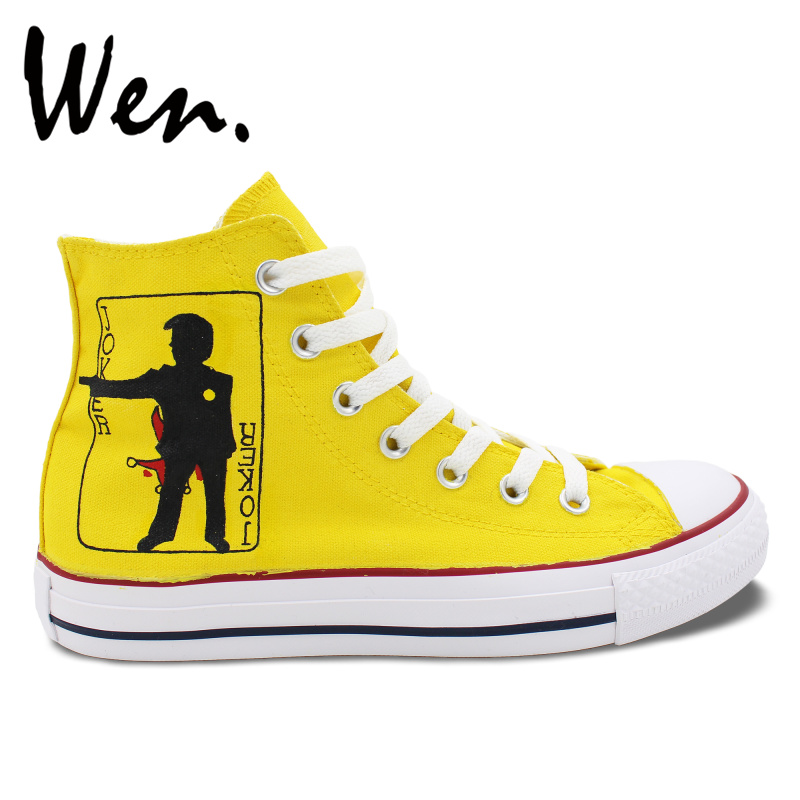 Wen Hand Painted Shoes Yellow Design Custom Sneakers Poker Joker Men Women's High Top Canvas Sneakers for Gifts wen original hand painted canvas shoes space galaxy tardis doctor who man woman s high top canvas sneakers girls boys gifts