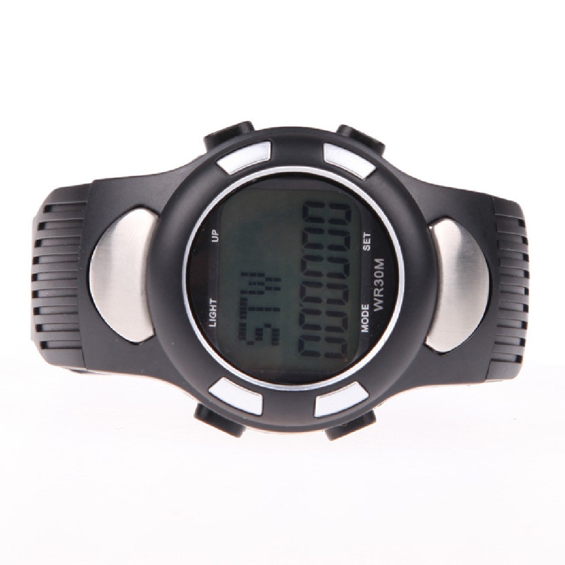 New Arrival 3D Pedometer Watch Heart Rate Monitor Wristwatch Reloj Deportivo With Backlight Silver