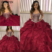 2019 Tiered Cascading Ruffles Ball Gown Quinceanera Dresses Pageant Prom Dazzling Silver Crystal Rhinestone Burgundy Organza
