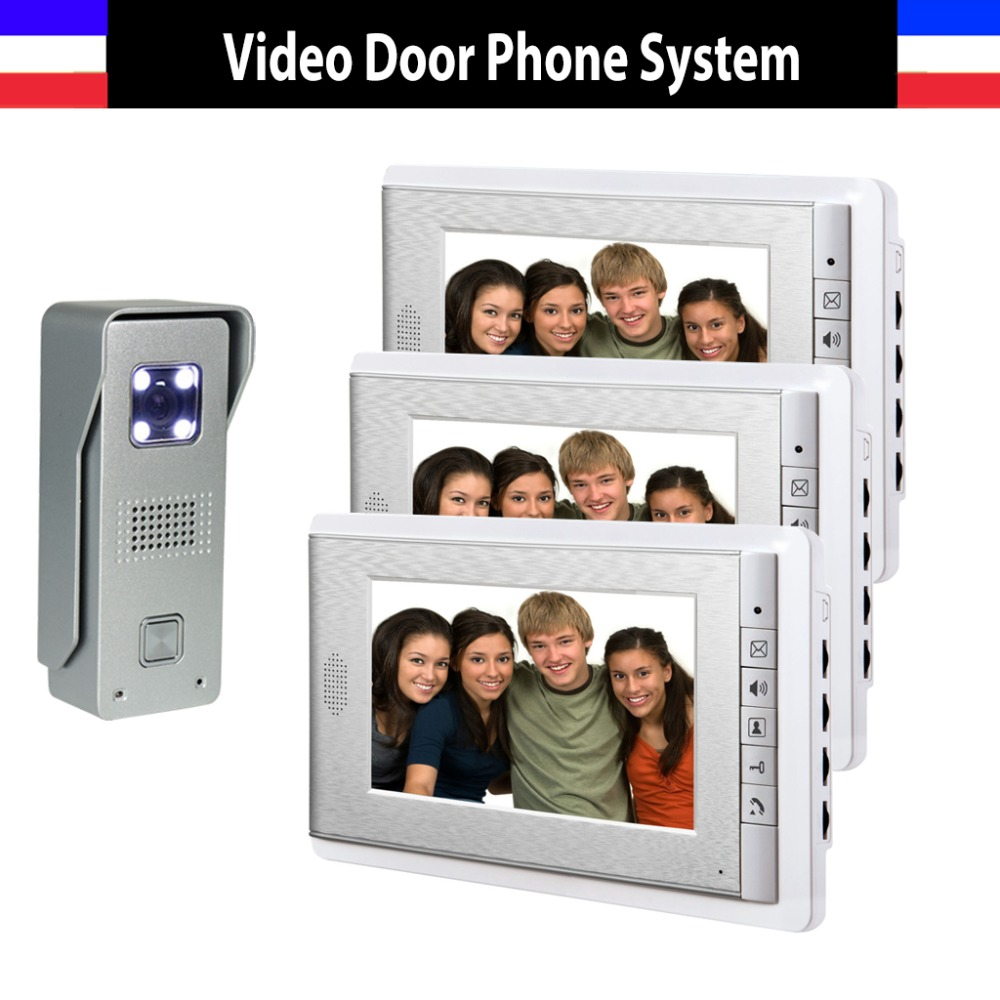 New 7 Inch Lcd Door Phone Doorbell Intercom System Night Vision Video Door Bell Waterproof Video Doorphone Intercom 3 Monitor homefong 7 inch night vision video door phone intercom doorbell doorphone system with tft lcd color monitor outdoor camera
