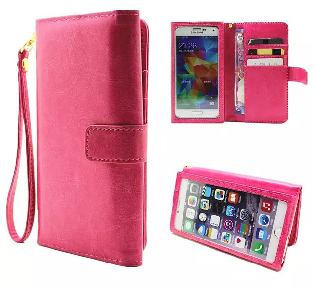 Hand Strap Card Wallet Touch Screen Mobile Phone Leather Case Bags Pouch For Huawei Honor Magic,Coolpad Cool S1,Doogee Shoot 1