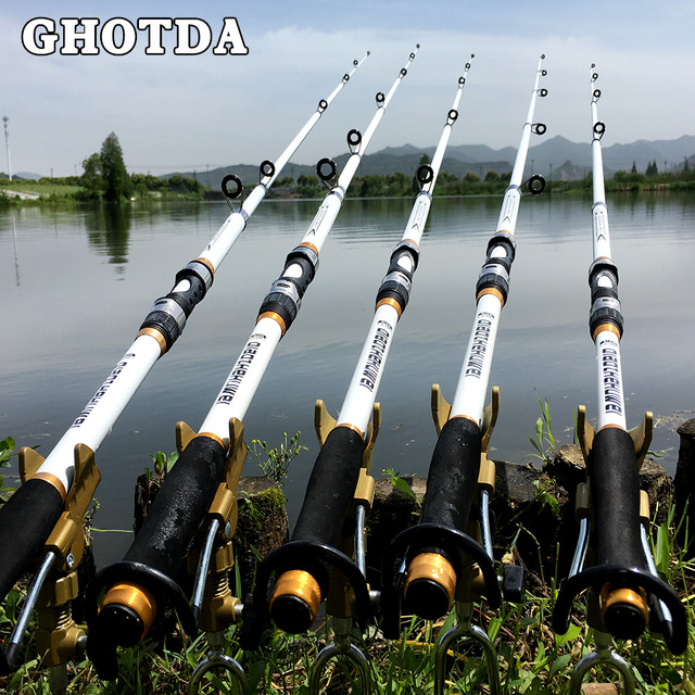 GHOTDA Fishing Rod Hard FRP Carbon Fibre Telescopic 2.1M -3.6M