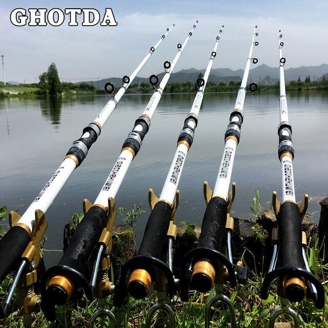 GHOTDA 2.1M -3.6M Carp Fishing Rod feeder Hard FRP Carbon Fiber Telescopic Fishing Rod fishing pole