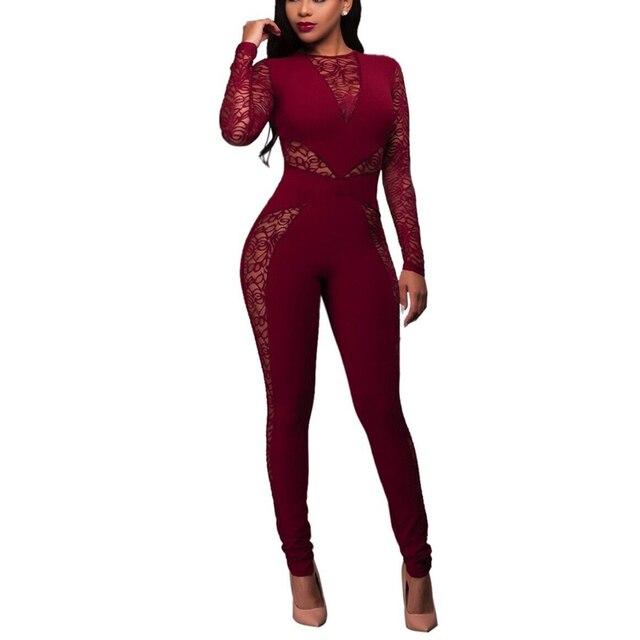 Vermelho Preto Rompers Jumpsuit Womens Manga Comprida Oco Out Lace Bodysuit Mulheres Zipper Up Patchwork Combinaison Playsuits Femme