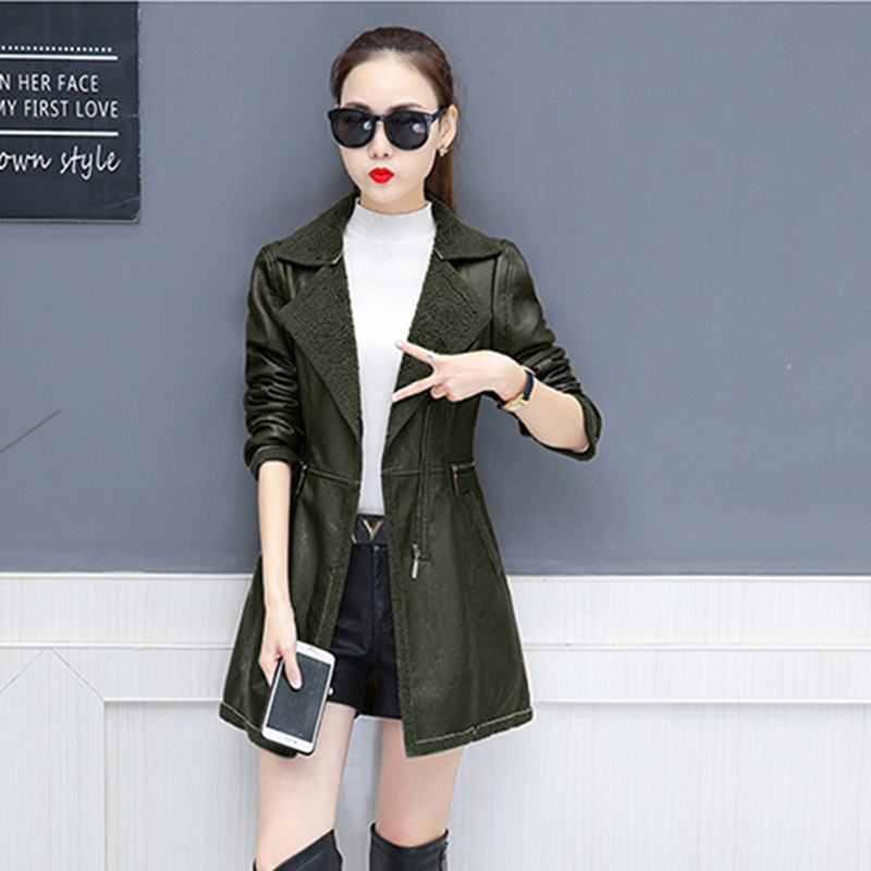 2019 New Fashion Long-sleeved Solid color Medium length Women Jacket Spring Autumn   Leather   &   Suede   Womens   Leather   Jacket NUW77