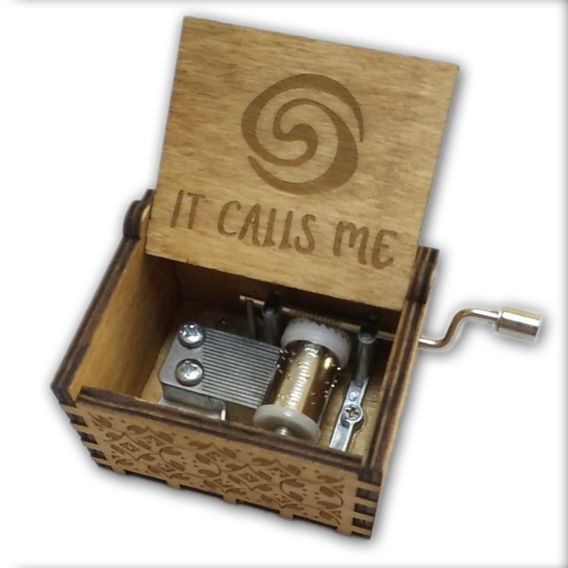 Moana It Calls Me Music Box Wooden Music Box wooden hand crank Hand-Crafted Island Princess Birch