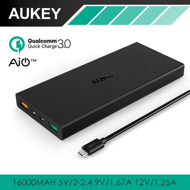 Aukey 16000 mah carregamento rápido banco de potência 3.0 dual port com led aipower adaptativo de carga portátil de bateria externa para telefones