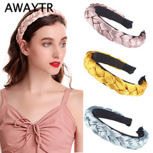 AWAYTR Vintage Headband for Women Summer Satin Ribbon Knotted Braided Ladies Hairband Hair Accessories