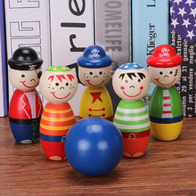 1 Set Children Toys Wooden Bowling Ball Skittle Funny Shape for Kids Game Wooden toys for children kids toy Bowling MU992289(China)