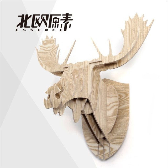 Finland Christmas Decorations.Us 187 12 Moose Head Nordic Finland Norway Canada European Home Decor 3d Wood Elk Caribou Reindeer Head Creative Christmas Decorations In Statues