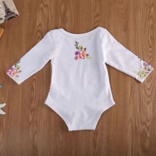 Baby Girls' Long Sleeve Unicorn and Flower Romper