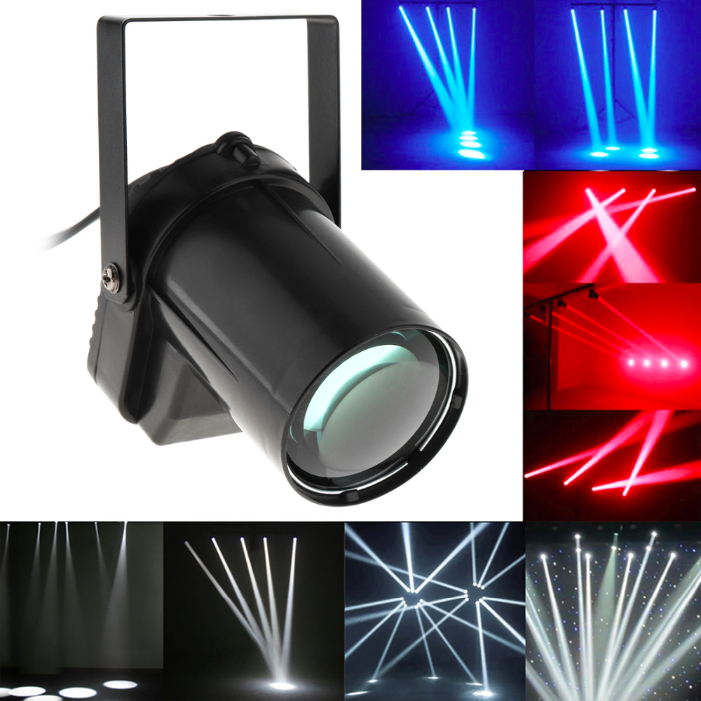5W Red Blue White LED Beam Spotlight Stage Light Ball Rotating Pinspot Lamp for DJ Disco Bar KTV Party Stage Lighting Effect