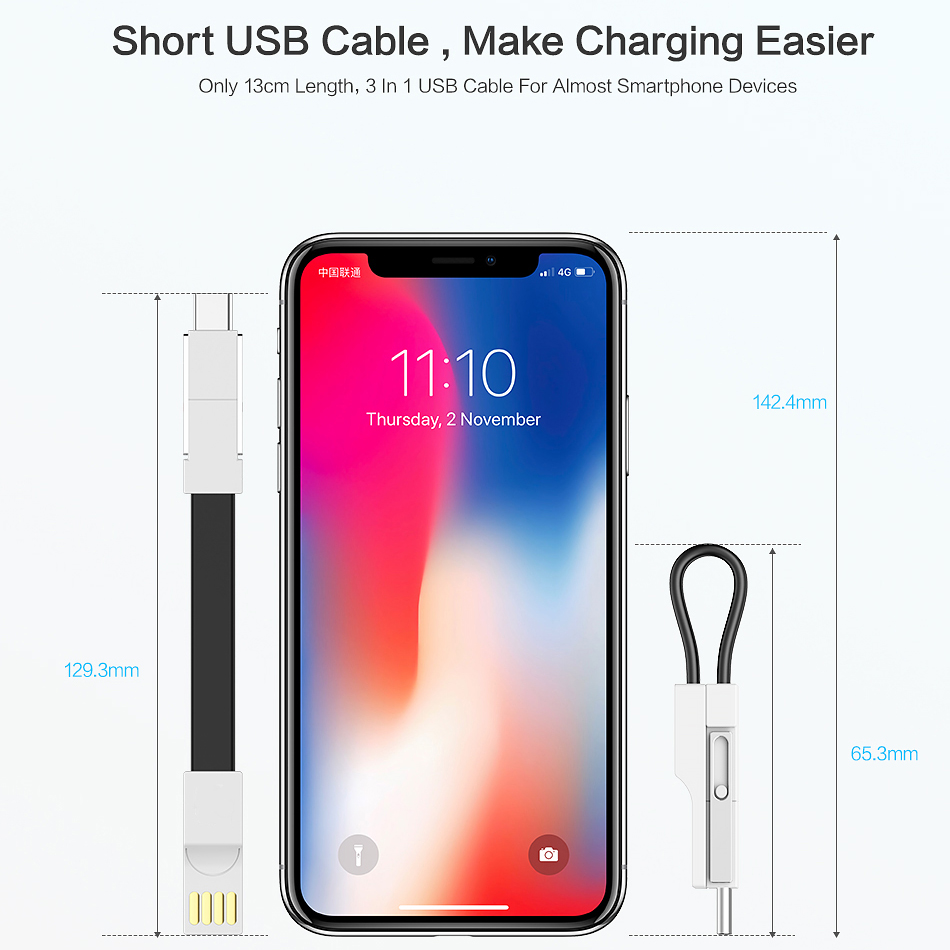 3 in 1 Mini Keychain USB Cable For iPhone XS Max XR X 8 Cable USB C Cord Micro USB Type C Cable For Android Mobile Phone Cable in Mobile Phone Chargers from Cellphones Telecommunications