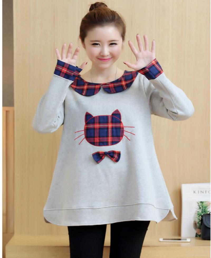 Pregnant women autumn and winter Korean version of cute cat pregnant women sweater plus velvet thickening pregnant women