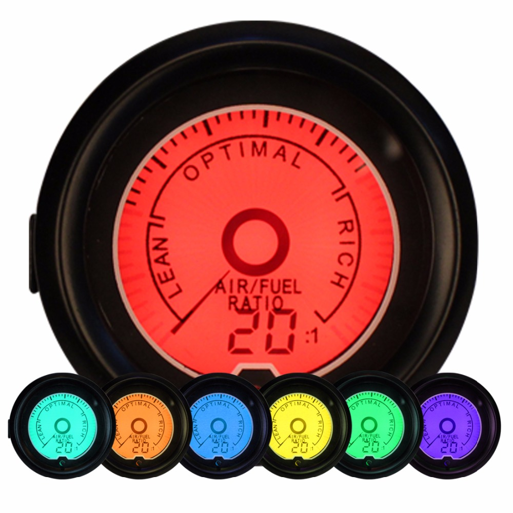 Universal 52mm Air/Fuel Ratio Meter Analog Monitor Gauge Meter 7 Color Backlit 12V CAR AFR Readout Between 20-10 AFR цена