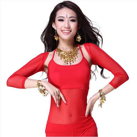 New Arrival Crystal Cotton And Mesh  Belly Dance Top Momen Vest And Sleeves Cost 2pcs Belly Dance Tops 9 Colors Sexy Tops