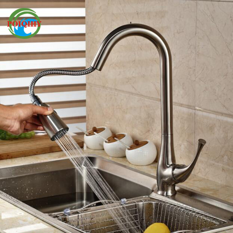 Pull Out Dual Functions Sprayer Kitchen Sink Faucet Deck Mount With Hot And Cold Water