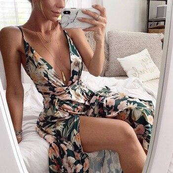 2019 женское сексуальное Цветочное платье с глубоким v-образным вырезом летнее платье на бретельках Бохо Сарафан Макси без рукавов