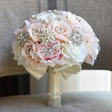 エレガントなカスタムアイボリーブライダルウェディングブーケ見事なパールビーズクリスタル結婚式のブーケ S20 AYiCuthia