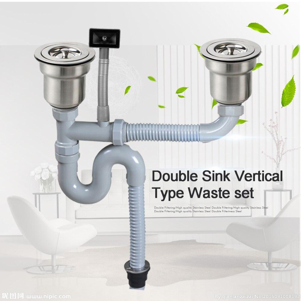 Talea Doppelwaschbecken Vertikalen Typ mit überlauf Rohr kit waschbecken Abfall set Waschbecken Sieb Entsorger ablaufschlauch Kunststoff Flexible Wildwasserbahn