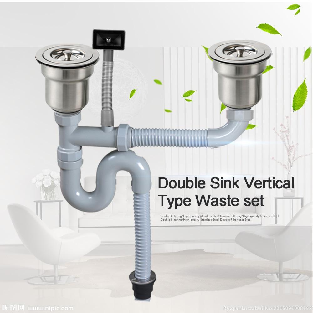 Talea doble fregadero tipo Vertical con kit de tubería de desbordamiento conjunto de residuos de lavabo Filtro de drenaje manguera de drenaje Flexible de plástico