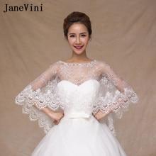 JaneVini 2018 Lebanon Lace Jackets For Wedding Shawl White Women Girl  Beaded Bridal Bolero Capes Wraps d23b8d0be