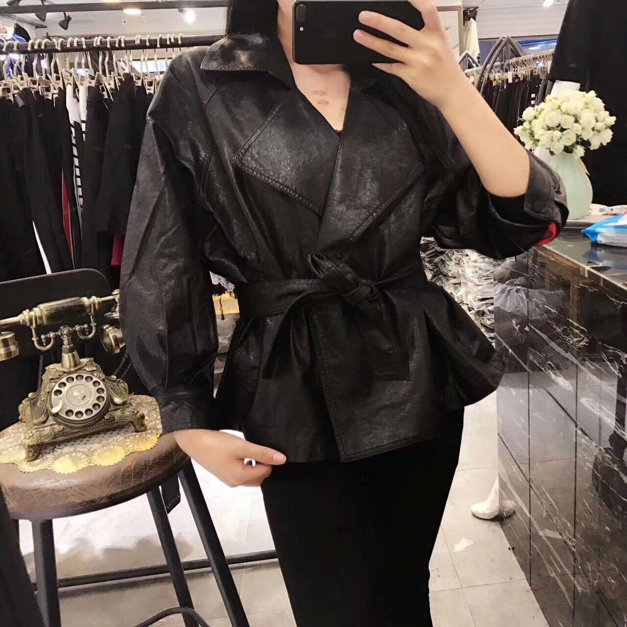 Faux PU   Leather   Slim Waist with Belt Three Quarter Sleeve Turn Down Collar Elegant Ladies